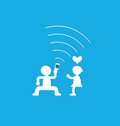 Young couple having fun together with mobile phone vector