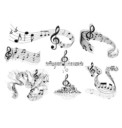 Abstract music staves with notes vector image vector image