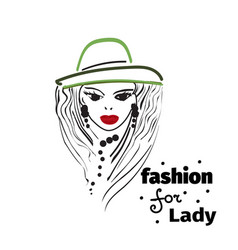 artistic hand drawn stylish young lady vector image