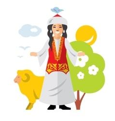 Kazakh woman historical clothes vector