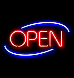 neon open sign vector image vector image
