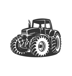 black tractor on white background vector image vector image
