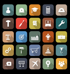 engineering flat icons with long shadow vector image vector image