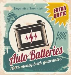 Auto batteries vintage poster design vector