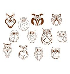 Cute cartoon owl characters vector