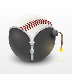 baseball leather ball inside a burning bomb vector image vector image