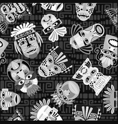 black and white masks seamless pattern vector image vector image