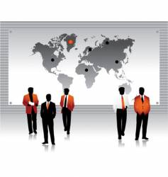 business peoples silhouettes world map vector image