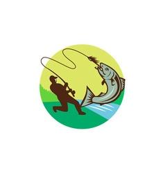 Fly Fisherman Hooking Salmon Circle Rero vector image vector image