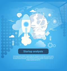 startup analysis concept web banner with copy vector image