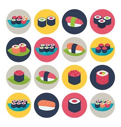 Sushi circular icon set vector image
