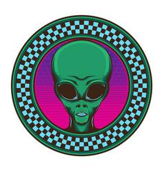 80s vintage alien logo vector