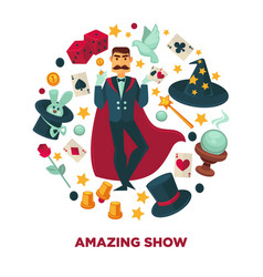amazing show promotional poster with magician and vector image