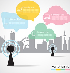 Antenna and city background vector