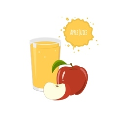 Apple juice with red apple and slices vector