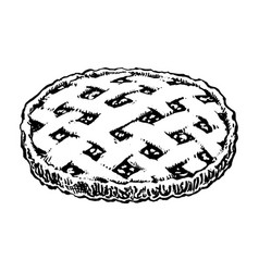 Apple pie sketch icon homemade cake hand drawn vector
