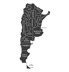 Argentina map labelled black vector