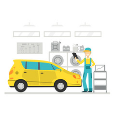 auto repair service auto mechanic character in vector image