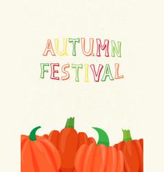 Autumn scene with orange pumpkins vector