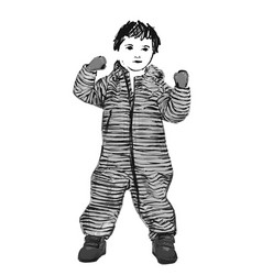 baby in romper with stripes fashion child sketch vector image