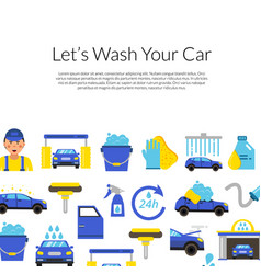 Background with car wash flat icons vector