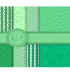 Beautiful collection of seamless patterns in green vector image