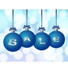 Blue Christmas balls with silver word Sale vector