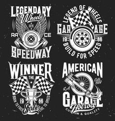 car rally tshirt prints motorsport set vector image
