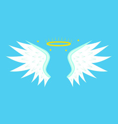 cartoon angel wings on a blue background vector image