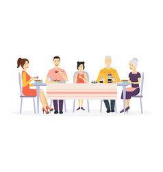 cartoon characters family at dining table vector image