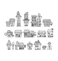Cartoon fairy tale drawing houses vector