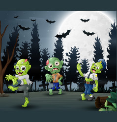 cartoon of three zombies in the forest background vector image