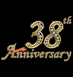 celebrating 38th anniversary golden sign with vector image