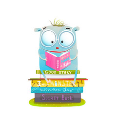 Character sitting on stack of books reading vector
