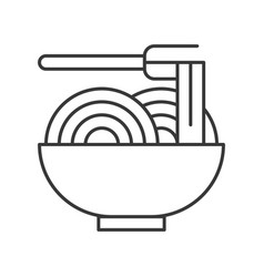 chinese or japanese noodles in bowl food outline vector image