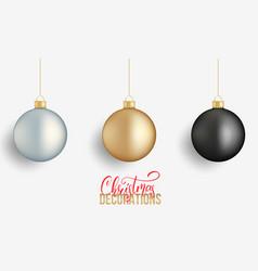 christmas balls realistic christmas balls of gold vector image