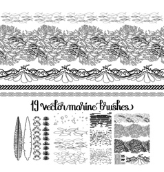 Collection of ocean brushes vector