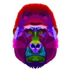 colorful gorilla on pop art style vector image