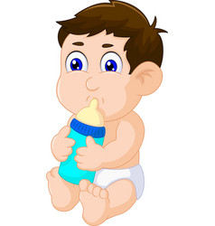 cute baby boy cartoon sitting with pacifier vector image