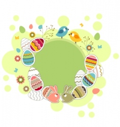 easter greeting card with eggs vector image