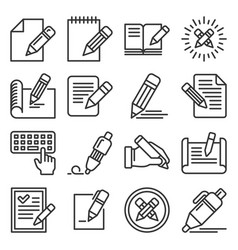 edit icons set on white background line style vector image