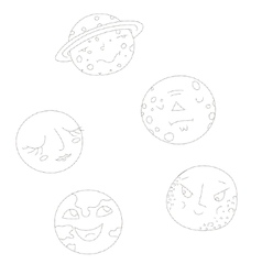 Educational gameconnect the dots to draw planets vector image