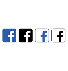 Facebook logo with shadow on a transparent vector