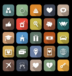 Family flat icons with long shadow vector