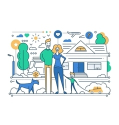 Family Life - line design composition vector image