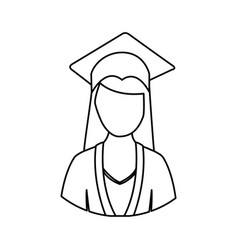 Figure woman graduation icon vector