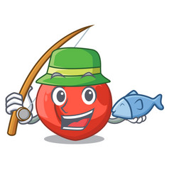 Fishing cartoon fresh sweet nectarines in the vector