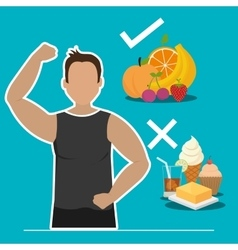 Fitness and healthy food vector image