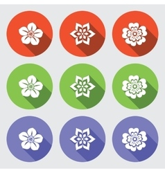 Flower icon set Camomile daisy orchid primula vector