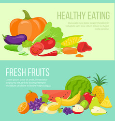 fruit and vegetable banners vector image